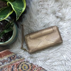 Fossil Gold Zip Around Wallet